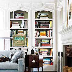 The trim around the book shelves would look perfect around my 2 story fireplace surround