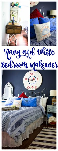 Navy Blue and White Bedroom Makeover with Lake Cottage Style. Hale Navy and Wedding Veil painted walls. Nautical bedroom makeover. Vintage globes. Victoria feed bag pillow. Pom Pom bedskirt.