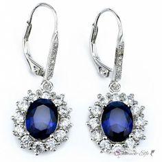 1 Paar Ohrhänger Saphir Blue mit Zirkonien pave aus 925...