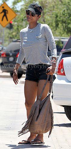 Halle Berry - Gerard Darel Fringe Shoulder Bag