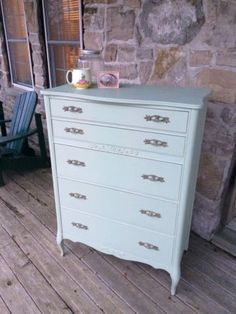 This beautifully refinished French provincial style Andrew Malcolm dresser has been painted with pretty mint green chalk paint, lightly dis...