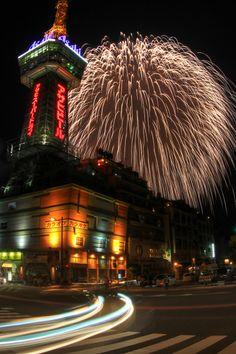 Beppu Tower(Fukuoka pref)with Hanabi. Fireworks Pictures, Best Fireworks, About Summer Season, Beppu, Sea Of Japan, Fire Works, Oita, Nippon, Hanabi