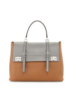 Lux Calf Large Flap Satchel Bag, Nude/Gray (Cannella+Marmo) by Prada at Neiman Marcus.