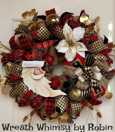Santa Moon Christmas Burlap Mesh Wreath in Red, Black and Gold, Holiday Wreath, Christmas Decor, Harlequin Santa Moon, Santa Decor by WreathWhimsybyRobin on Etsy