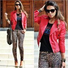 jaqueta de couro vermelha como usar