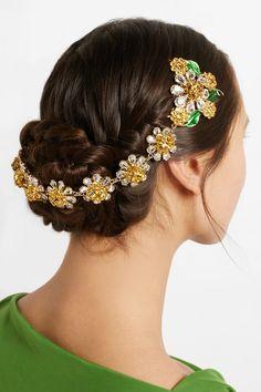 Dolce & Gabbana | Gold-tone, Swarovski crystal and enamel headband | NET-A-PORTER.COM