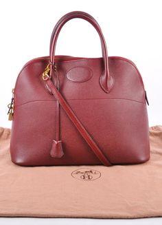 "Maroon Leather ""Bolide 37cm"" Satchel Bag"