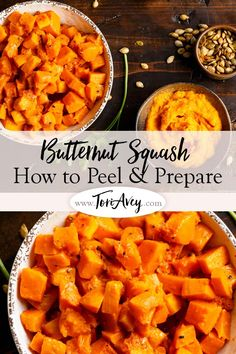 How to peel, seed, roast and prepare hard-skinned Butternut Squash. Save money by prepping this winter squash yourself, then toast the seeds! Veggie Dishes, Veggie Recipes, Vegetarian Recipes, Cooking Recipes, Healthy Recipes, Side Dishes, Roasted Squash, Bon Appetit