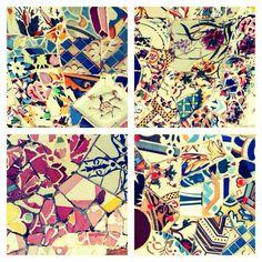 Mosaic art by Gaudi, Parc Guell, Barcelona
