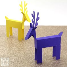 Printable paper reindeer craft for kids. Here is a template to create your own cute reindeer from paper. Make them as decorations or for play! Christmas Village Sets, 3d Christmas, Christmas Paper Crafts, All Things Christmas, Rustic Christmas, Xmas, Sand Crafts, New Crafts, Decor Crafts