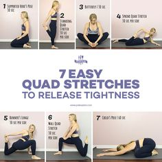 7 Soothing Quad Stretches to Release Tightness Running, strength training, and even walking call cause tightness in the quads These simple stretches will loosen up your tight quads so that you can prevent injury and gently loosen up achy muscles. Tight Leg Muscles, Tight Quads, Quad Muscles, Tight Thighs, Thigh Muscles, Stretches For Legs, Muscle Stretches, Yoga Exercises, Diy Home