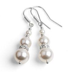 White Pearl Wedding Jewelry Bridal Earrings Dangle 925 Silver Swarovski Elements