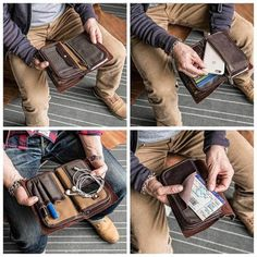 Ekphero Men Vintage Card Holder Solid Phone Bag Long Wallet sales at a wholesale price. Come to Newchic to buy a wallet, more cheap wallets for man are provided online. Passport Wallet, Id Wallet, Long Wallet, Cowhide Leather, Leather Men, Groomsmen Gifts Unique, Leather Clutch, Retro, Card Holder