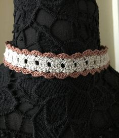 Lace Choker  Handmade Crochet  Copper and Cream  Item 106