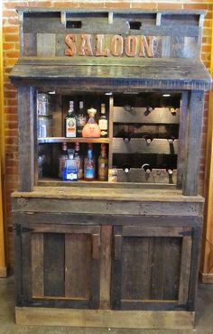 Old Barn Wood Liquor Wine Cabinet Hutch By KidsCreationsBeds