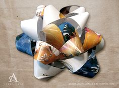 bow made from magazine pages