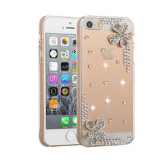 [USD0.97] [EUR0.87] [GBP0.68] Fevelove for iPhone SE & 5s & 5 Diamond Encrusted Edge Piping Flower Pattern PC Protective Case Back Cover