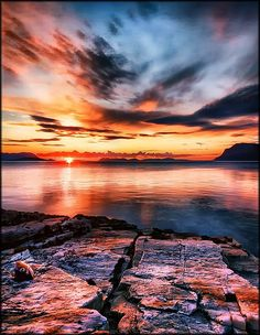 The midnight sun - near by Harstad, Norway. (there you can see the midnight sun 24/7, for about 2 months in the summer.)