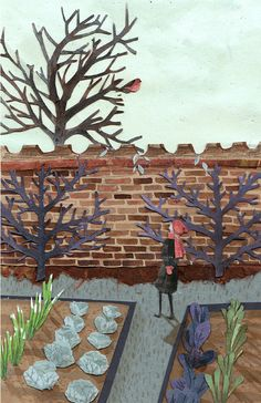 The Secret Garden - Emma Block Illustration. These are new to me.  They are spare but really illustrate the scene just as read.  Very fine. JC