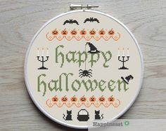 Halloween cross stitch pattern HAPPY Halloween by redbeardesign