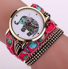 6617d74ba7a Náramkové hodinky Geneva zlaté barvy se slonem a růžovým páskem Na tento  produkt se vztahuje nejen