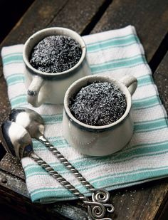 Chocolate Cake in a Cup: Cooking for Two | Savory Palate Blog. Dessert for two cooks in 60 seconds with this easy cake-in-a-cup. Hot, fudgy, divine! From Carol Fenster's Gluten-Free Cooking for Two cookbook.  Photo by Tom Hirschfield.