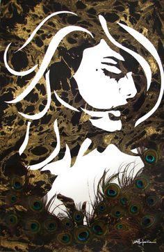"Original Art , Female Figure in Mixed Media (handmade paper on paper), metallic paint, peacock feathers ""Mori"" by Marcy Ann Villafaña  ""MORI"" 28 1/2"" x 40"" Mixed Media 2010  www.VillafanaArt.com"