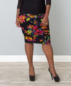 173d44d6cad47 Another great find on  zulily! Black Floral Rhapsody Skirt - Plus by  KIYONNA