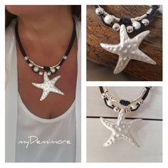leather starfish pendant necklace, multistrand, pearls, Bohemian, woman leather necklace by myDemimore on Etsy