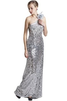 Beautifly Womens Sexy One Shoulder Sequins Silver Evening Dress >>> Find out more about the great product at the image link.