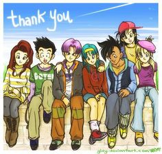 (Left to Right) Valese, Goten, Trunks, Bulla or Bra (wasn't sure), Uub, Pan, and Marron