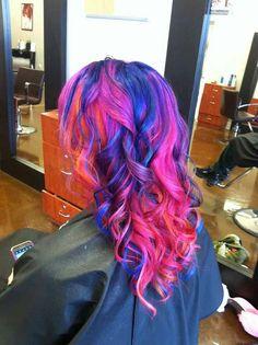 Pravana vivid colors, hair dye, autism awareness, pink hair, blue hair