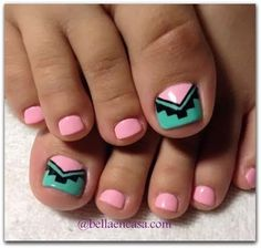 Image viaToenail DesignsImage viaCool & Pretty Toe Nail Art Designs & Ideas For Beginners .Image via Pretty Toe Nail Art D Pretty Toe Nails, Cute Toe Nails, Toe Nail Art, Love Nails, Pink Nails, My Nails, Pink Toes, Jamberry Nails, Green Nails