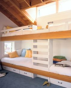 Built in beds- love these ideas for small spaces and lots of kids- I am thinking a cabin with the nieces and nephews- but wherever it works for you.