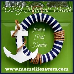 DIY Nautical Wreath Our DIY Nautical Wreath starts with a pool noodle – that's right a one dollar pool noodle. Nautical Wreath, Nautical Party, Nautical Nursery, Vintage Nautical, Anchor Wreath, Nautical Craft, Pool Noodle Wreath, Pool Noodle Crafts, Crafts With Pool Noodles