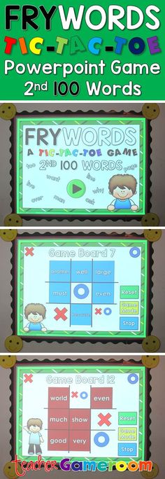 "In this tic-tac-toe powerpoint game, students read the 100 fry word and place their ""X"" or ""O"". There are 12 game boards, each with 9 fry words from the 100 fry words set. Great for Kindergarten, and grade. Word Study, Word Work, Teacher Resources, Learning Resources, Teaching Ideas, Fry Words, Tutoring Business, Powerpoint Games, 2nd Grade Classroom"
