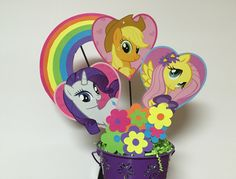 My Little Pony Centerpieces, Diamond, Applejack, Fluttershy Little Pony Birthday Decorations, Diamot Centerpiece/ Decorations #babyshowerideas4u #birthdayparty  #babyshowerdecorations  #bridalshower  #bridalshowerideas #babyshowergames #bridalshowergame  #bridalshowerfavors  #bridalshowercakes  #babyshowerfavors  #babyshowercakes