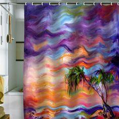 "Ginette Fine Art ""Flordia Palms Beach"" Shower Curtain"