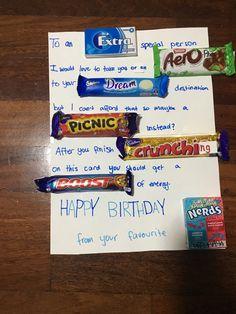 65 Ideas For Bedroom Birthday Surprise Bestfriend Birthday Candy Posters, Candy Birthday Cards, Candy Bar Posters, Birthday Chocolates, Birthday Card Sayings, Candy Cards, Best Friend Birthday Present, Bff Birthday, Birthday Ideas