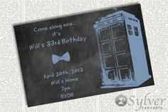 Doctor Who Chalkboard Invite For Birthdays by SylverConcepts, $5.00