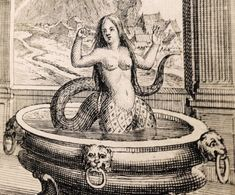 Melusine, illustration of the mermaid / siren / fairy from medieval French folklore by Jean D'Arras. Read more about her lineage and folktales above! Arte Horror, Horror Art, Weird Creatures, Mythical Creatures, Underwater Creatures, Mermaids And Mermen, Ancient Mysteries, Merfolk, Sea Monsters