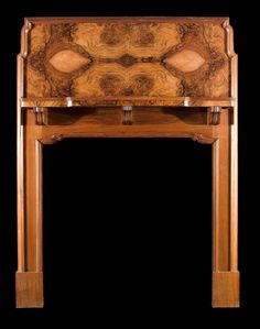Antique Arts and Crafts Walnut Victorian Fireplace Mantel