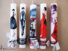 konstantina kollia Voss Bottle, Water Bottle, Handmade Candles, Easter Crafts, Decoupage, Diy And Crafts, Candle Holders, Easter Candle, How To Make