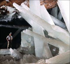 Ubicada a 300 metros bajo tierra en la Mina de Naica (Mexico), existe una cueva de 27 m de largo y 9 m de altura que contiene gigantescos cristales de selenita, de los más grandes jamás encontrados. Es uno de los descubrimientos geológicos más importantes del mundo, midiendo la mayoría de los cristales unos 6 m de longitud aunque algunos llegan a medir 11 m.