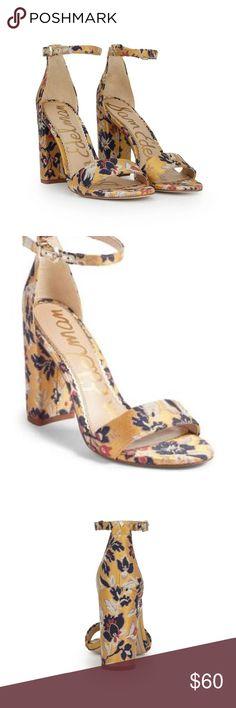 2c0f21222 NWB🌿 Sam Edelman•yaro•yellow floral jacard• heels Brand new! Perfect for  fall! Metallic vibes Heels measure 4 inches Size  10 Sam Edelman Shoes Heels
