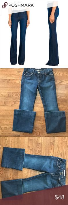 Anthropologie J Brand Bell Bottom / Size 27 Anthropologie J Brand Bell Bottom / Size 27 LIKE NEW! MINT! Absolutely gorgeous pair jeans / soft denim 8 inch front rise 33 inch inseam 72% cotton and 28% spandex Anthropologie Jeans Flare & Wide Leg