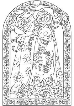 Candy Skull Colouring Page