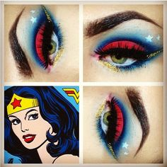 Loving Trey's Wonder Woman inspired look using #Sugarpill. What alluring eyes he has! Check out @Trey Philips Saxon Instagram to see more of his gorgeous work. #eotd #makeupart #wonderwoman