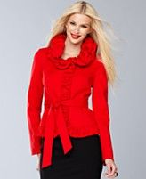 INC International Concepts Jacket, Long-Sleeve Ruffled Ruched Belted