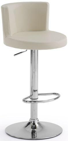 Meraviglioso sgabello imbottito, con seduta e schienale rivestiti in morbida ecopelle disponibile nei colori bianco, nero o beige.